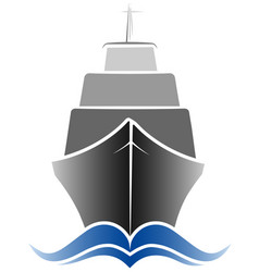 Logo passenger ocean liner gray and blue color vector