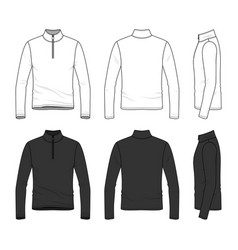 clothing set of long sleeved t-shirt with zipper vector image vector image