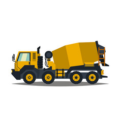 concrete mixer yellow truck with special vector image