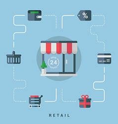 Flat Conceptual Retail Shop with Shopping Icons vector image