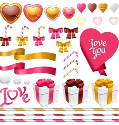 Set of decorative design elements for the holiday vector image