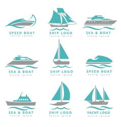 Boat logo and yacht label set Fast motor vector image vector image
