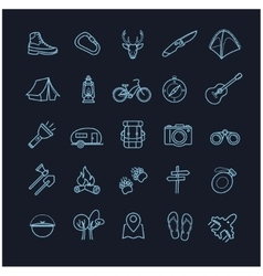 camping icons set on a black background vector image