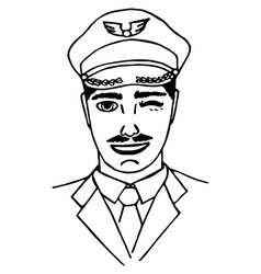 Hand-drawn pilot Doodle Isolated vector image