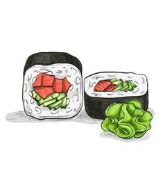 sushi color sketch UnakuiMaki roll vector image vector image