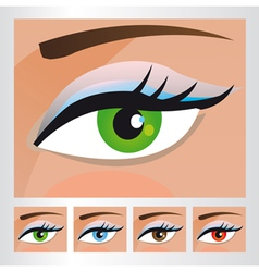 Woman eyes of different colors vector image