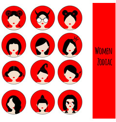 women astrological zodiac signs set icons vector image