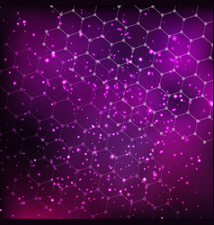 abstract cosmos background with stars and hexagon vector image vector image
