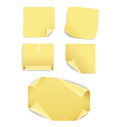 Blank yellow paper stickers collection vector image