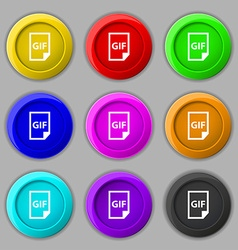 File GIF icon sign symbol on nine round colourful vector image