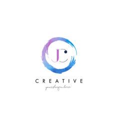 jc letter logo circular purple splash brush vector image vector image