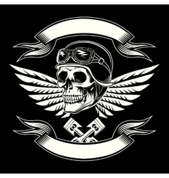 Motor skull graphic Motorcycle vintage vector image