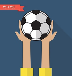 Referee hand holding a soccer ball vector