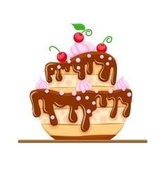 Sponge cake dessert with sweet vector image