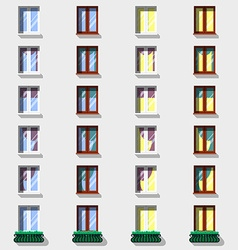 Windows set Flat exterior icons vector image vector image