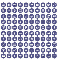 100 audio icons hexagon purple vector image