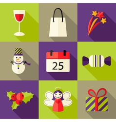 9 Christmas Flat Icons Set 5 vector image