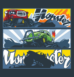 A collection three banners with monster cars vector