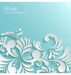Abstract Ocean Background with 3d Floral Pattern vector