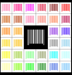 bar code sign felt-pen 33 colorful icons vector image