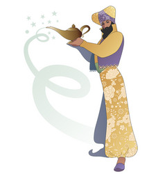 Bearded magician dressed in oriental style vector