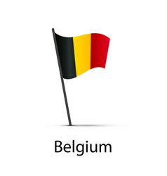 belgium flag on pole infographic element on white vector image
