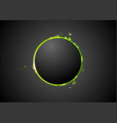Black background with glow green light vector