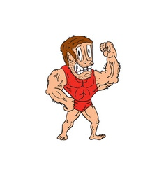 Bodybuilder flexing muscles cartoon vector