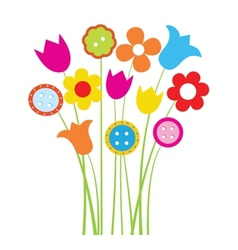 Bright greetings card with flowers and buttons vector image