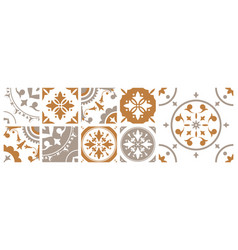 Bundle of decorative square ceramic tiles with vector