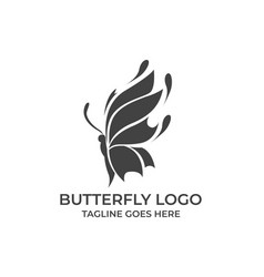 butterfly silhouette design concept template vector image