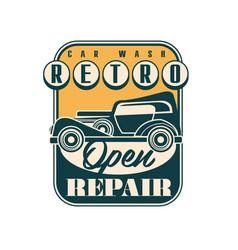 car wash and repair logo design retro service vector image