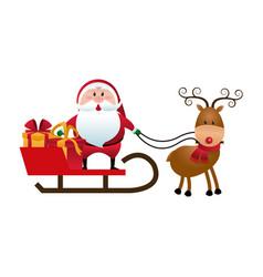 christmas santa claus reindeer sledge gifts vector image