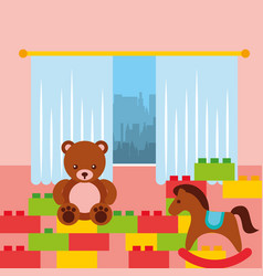 classroom kinder bear rocking horse and bricks vector image