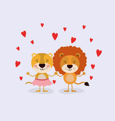 color background with couple of lioness and lion vector image