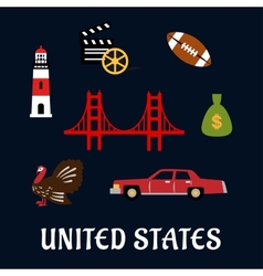 Colored flat travel United States icons vector