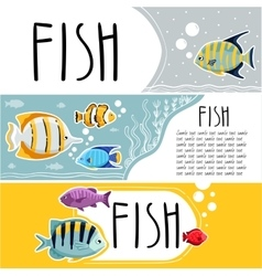 Colorful reef fish horizontal flyers vector