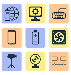 computer icons set with mobile phone webcam vector image