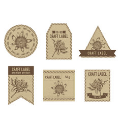 Craft labels with passion flower vector