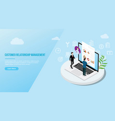 crm isometric customer relationship management vector image