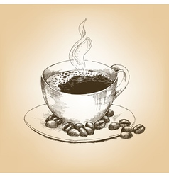 Cup of hot coffee and coffee beans on saucer vector image