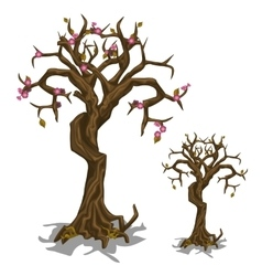 Dead tree with few flowers Symbol of rebirth vector