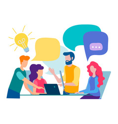 Discussion and communication in the office vector