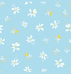Ditsy flower blue summer flower repeating pattern vector