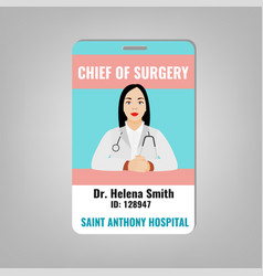 doctor id card vector image