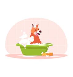 Dog in bath semi flat rgb color vector