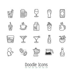 doodle drinks icons vector image