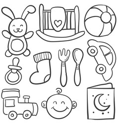 doodle of element baby collection vector image