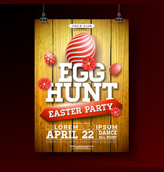 Easter egg hunt party flyer vector