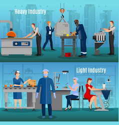 Factory workers banners set vector